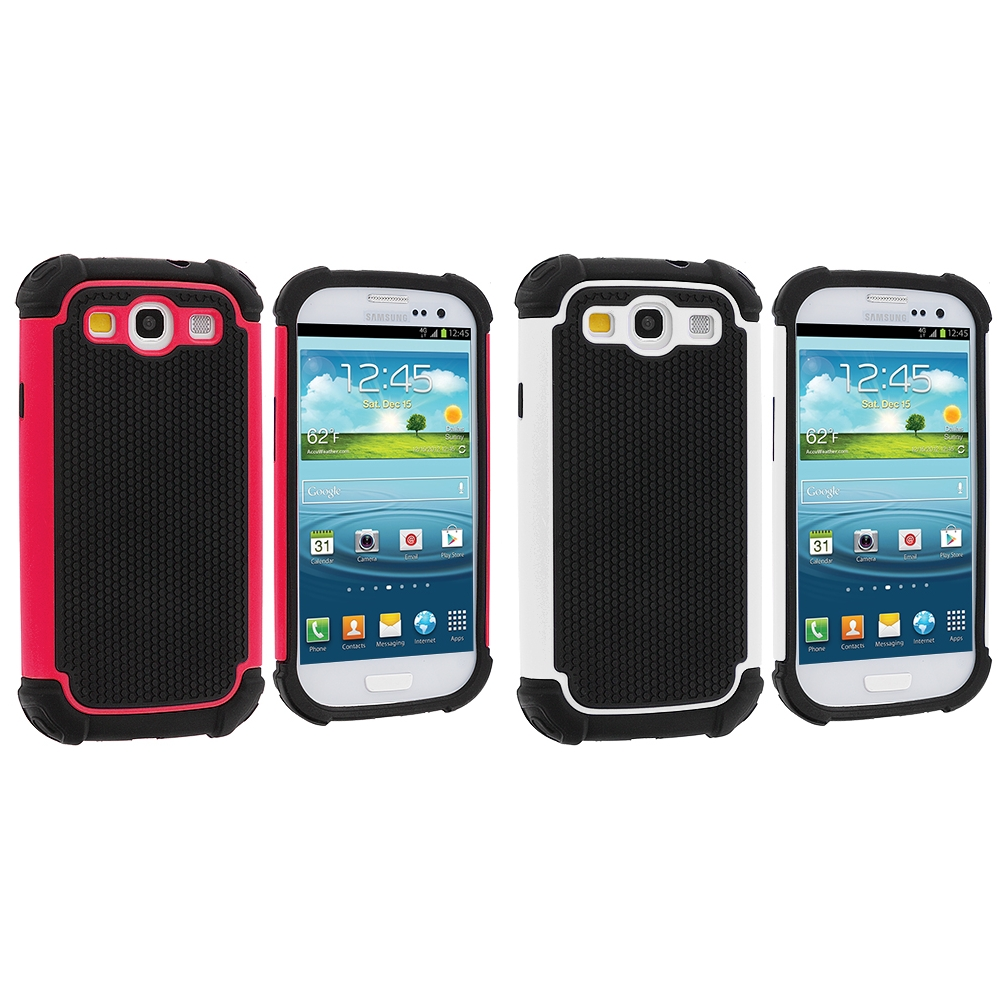 Samsung Galaxy S3 2 in 1 Combo Bundle Pack - Hot Pink White Hybrid Rugged Hard/Soft Case Cover