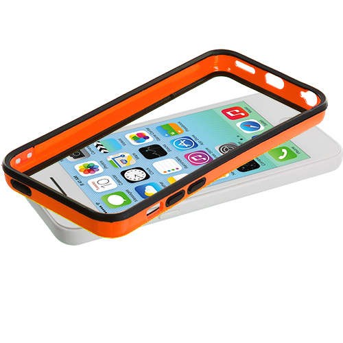 Apple iPhone 5C Black / Orange TPU Bumper with Metal Buttons