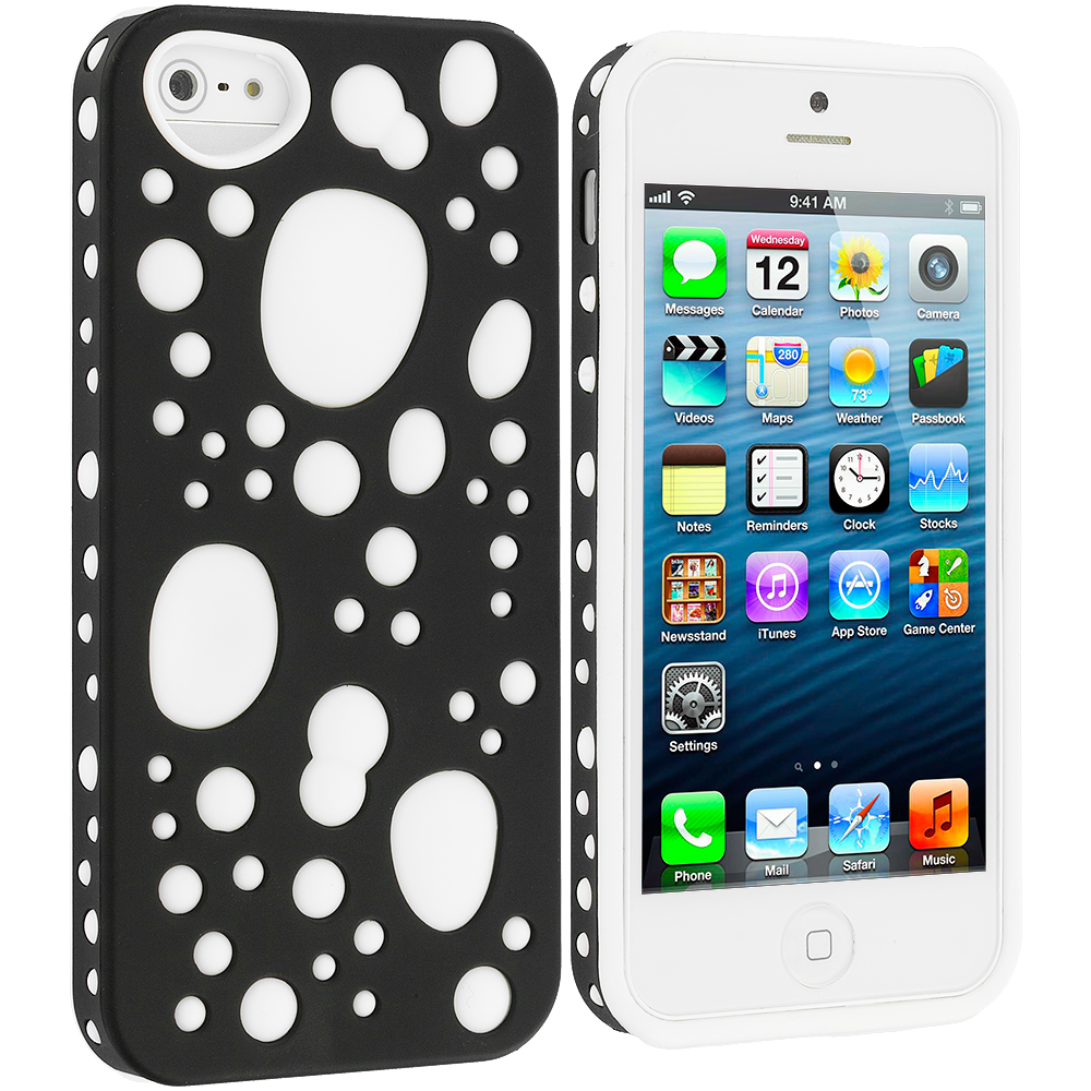 Apple iPhone 5 2 in 1 Combo Bundle Pack - Black / White Hybrid Bubble Hard/Soft Skin Case Cover : Color Black / White