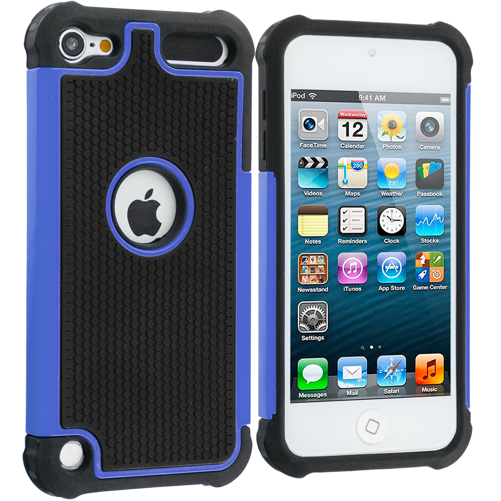 Apple iPod Touch 5th 6th Generation 2 in 1 Combo Bundle Pack - Black / Blue Hybrid Rugged Hard/Soft Case Cover : Color Black / Blue