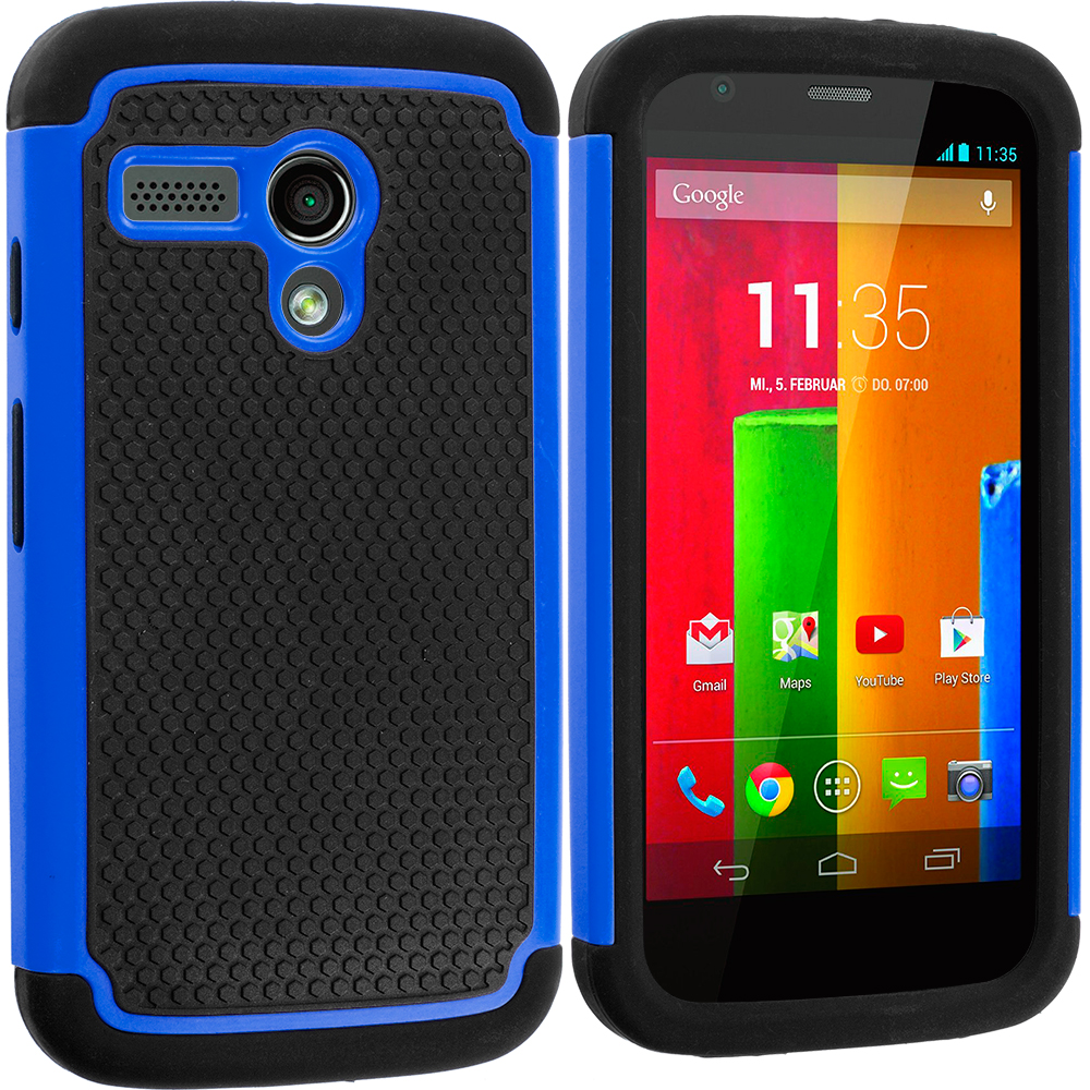 Motorola Moto G 2 in 1 Combo Bundle Pack - Black / Blue Hybrid Rugged Hard/Soft Case Cover : Color Black / Blue