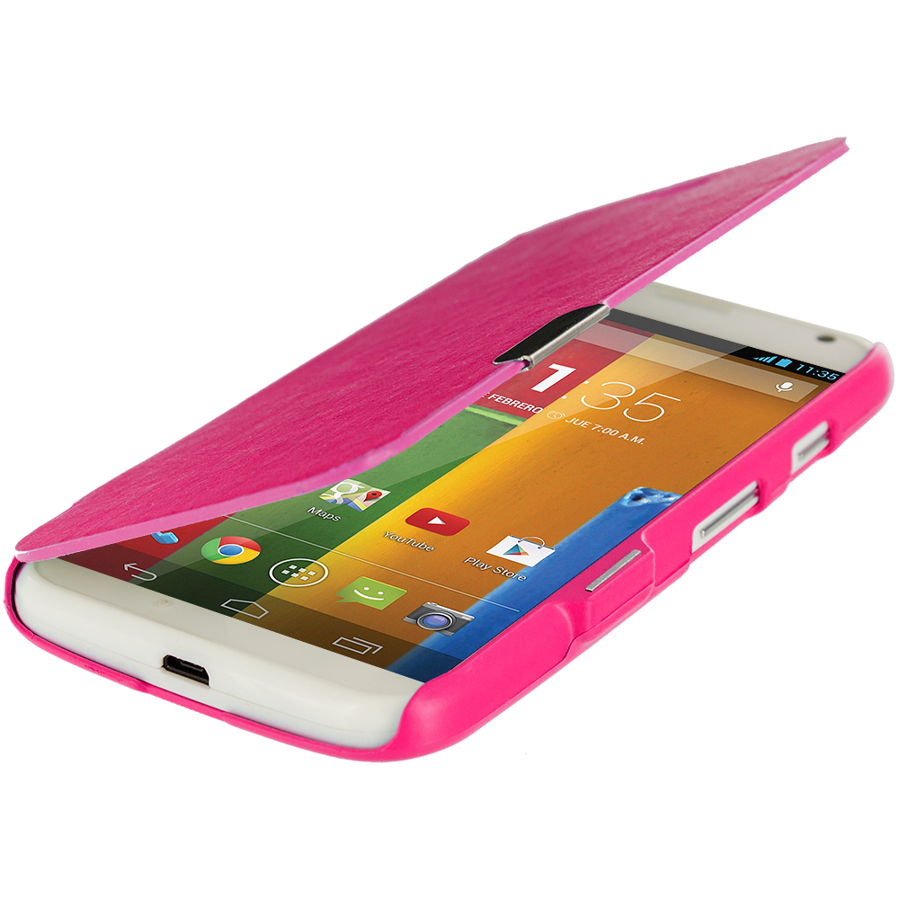 Motorola Moto G Hot Pink Magnetic Wallet Case Cover Pouch