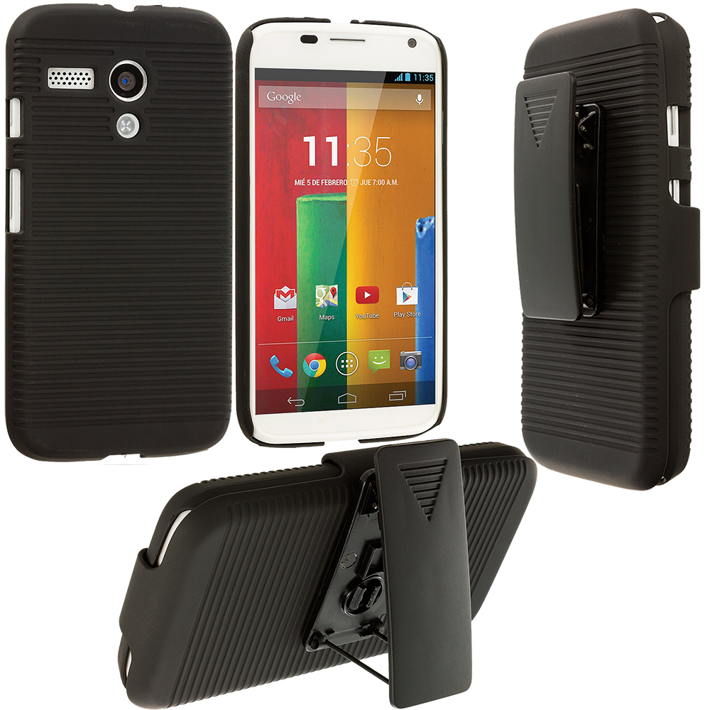 Motorola Moto G Black Hard Rubberized Belt Clip Holster Case Cover