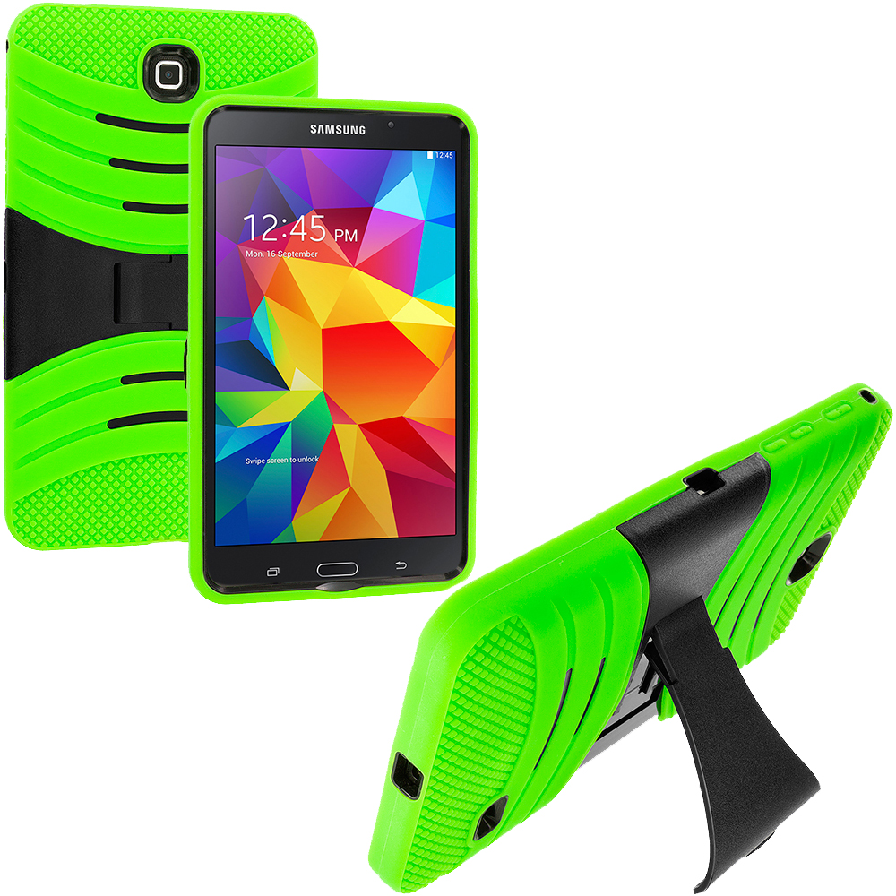 Samsung Galaxy Tab 4 7.0 Neon Green / Black Hybrid Hard/Silicone Case Cover with Stand
