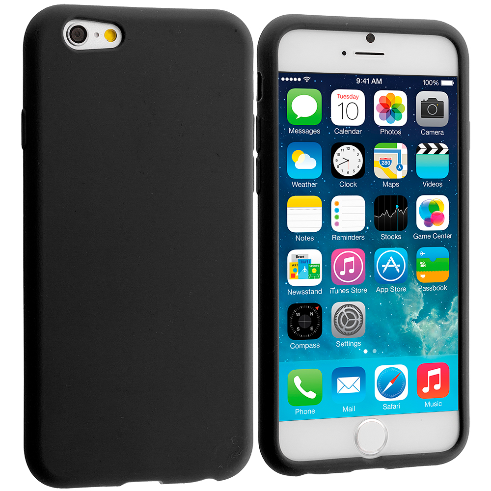 Apple iPhone 6 6S (4.7) 9 in 1 Combo Bundle Pack - Silicone Soft Skin Case Cover : Color Black