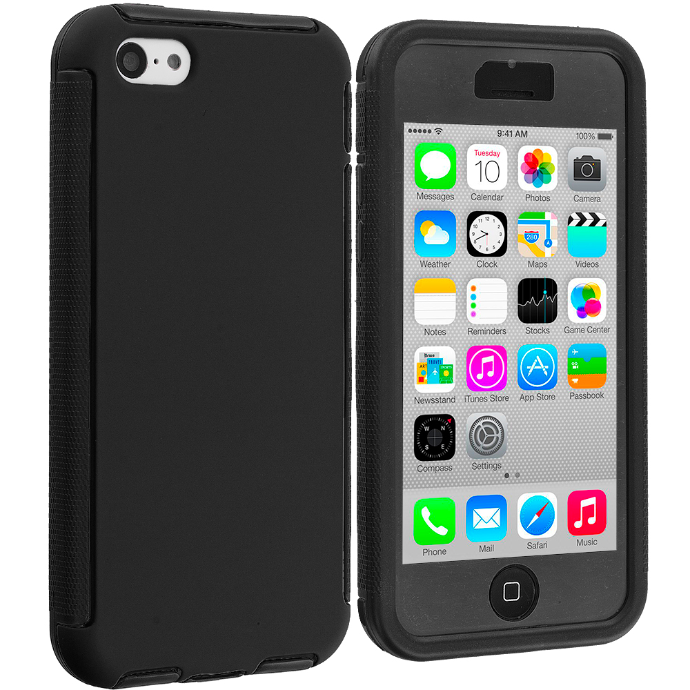 Apple iPhone 5C Black / Black Hybrid Hard TPU Shockproof Case Cover With Built in Screen Protector