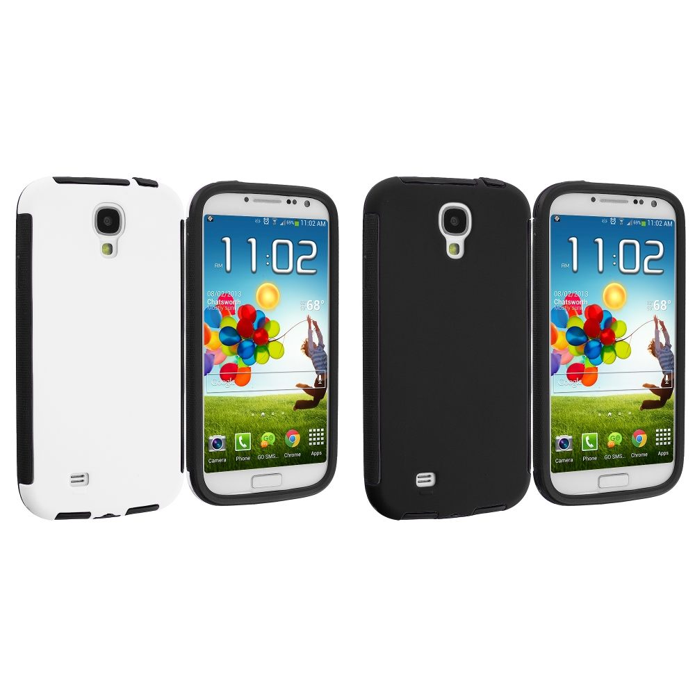Samsung Galaxy S4 2 in 1 Combo Bundle Pack - Black / White Hybrid Hard TPU Case Cover With Screen Protector