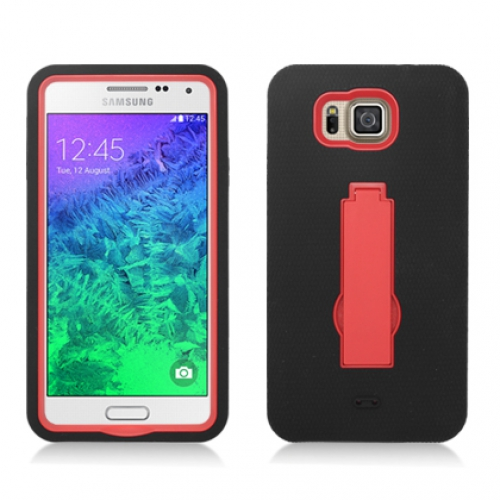 Samsung Galaxy Alpha G850 Black / Red Hybrid Heavy Duty Hard Soft Case Cover with Kickstand