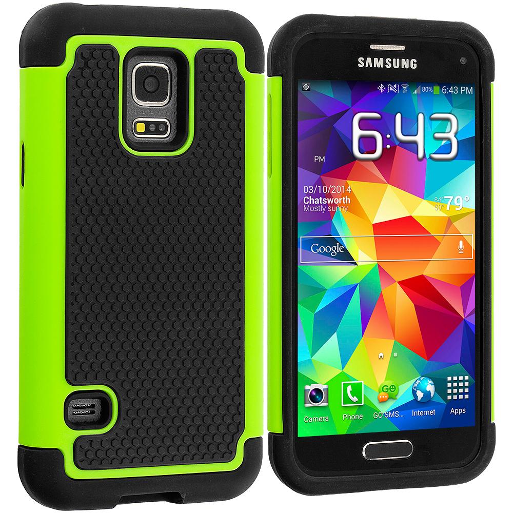 Samsung Galaxy S5 Mini G800 Black / Neon Green Hybrid Rugged Grip Shockproof Case Cover