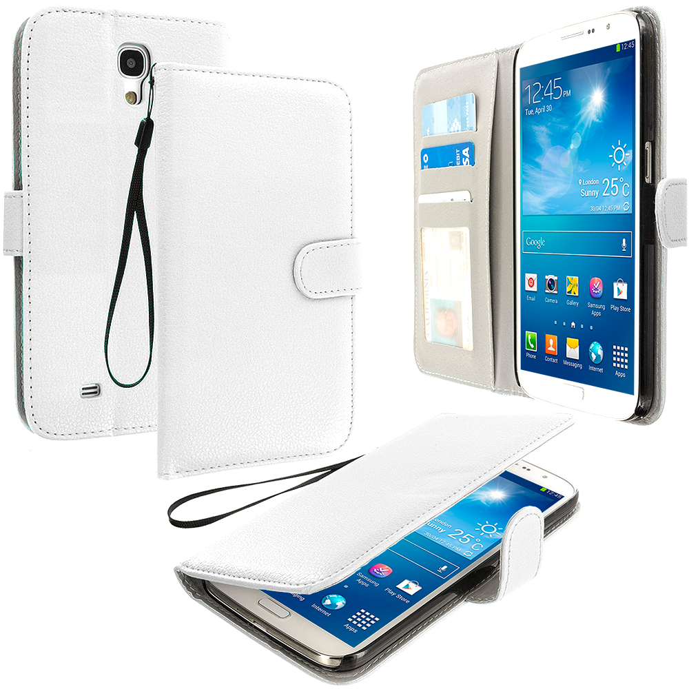Samsung Galaxy Mega 6.3 White Leather Wallet Pouch Case Cover with Slots