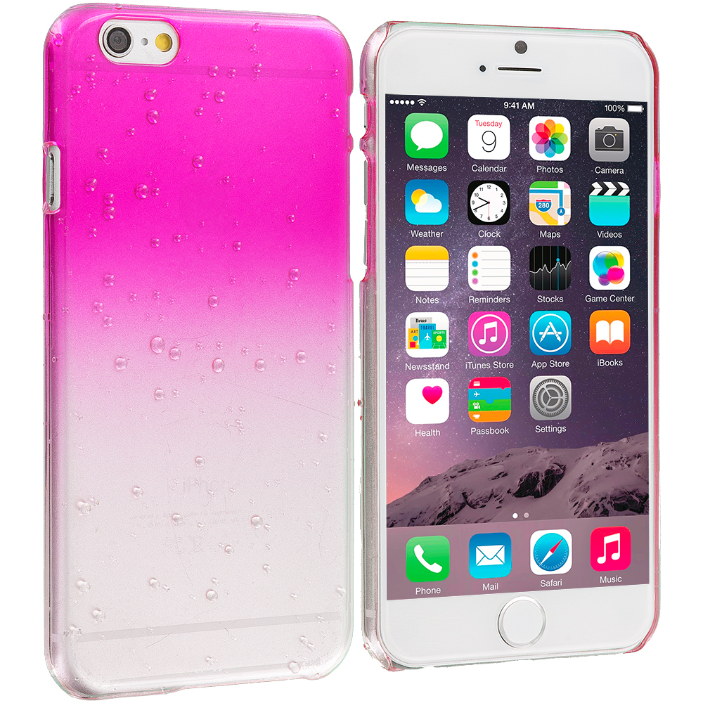 Apple iPhone 6 Plus 6S Plus (5.5) Hot Pink Crystal Raindrop Hard Case Cover