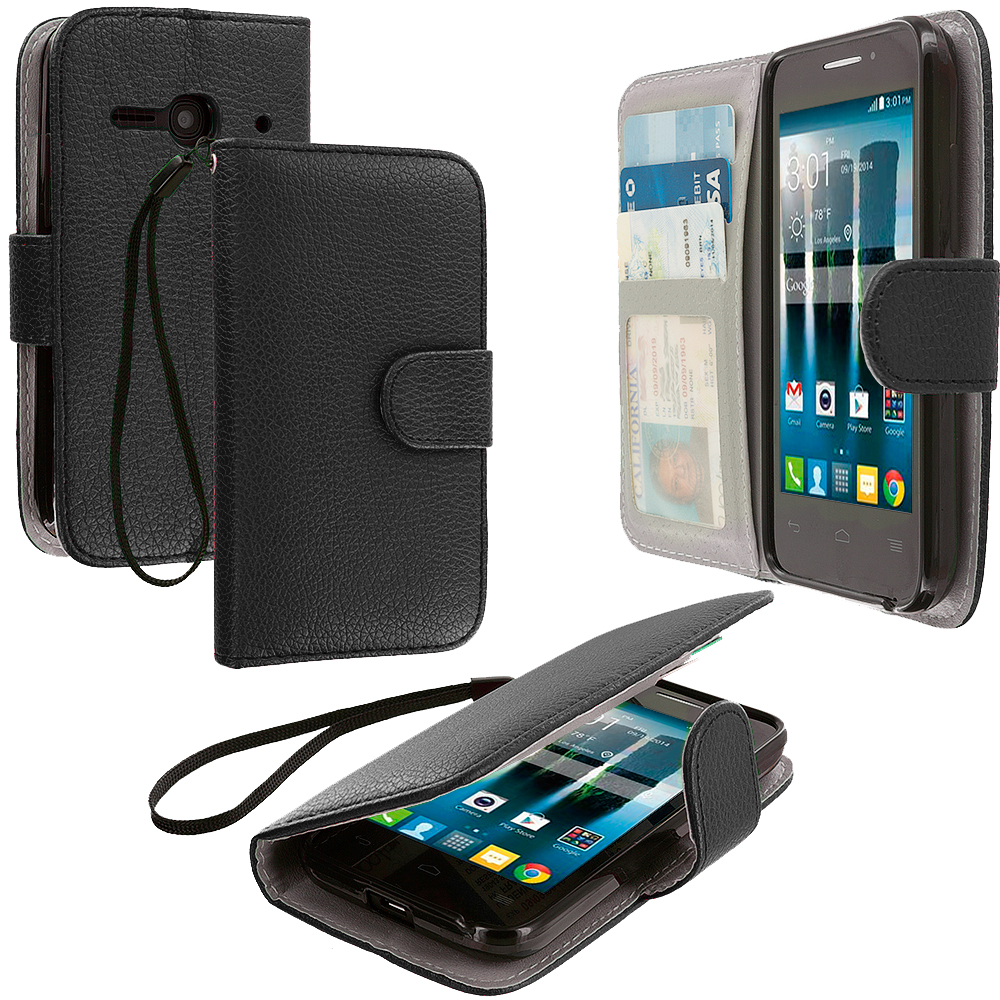 Alcatel One Touch Evolve 2 Black Leather Wallet Pouch Case Cover with Slots