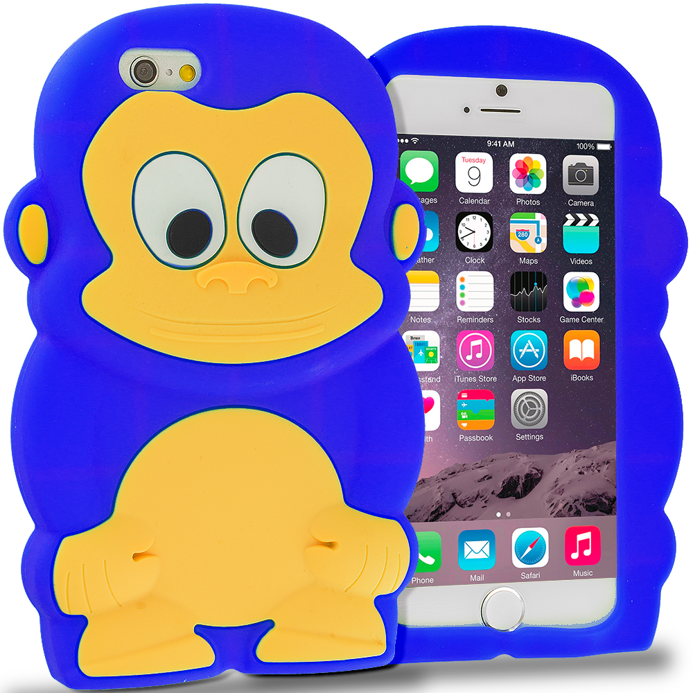 Apple iPhone 6 Blue Monkey Silicone Design Soft Skin Case Cover