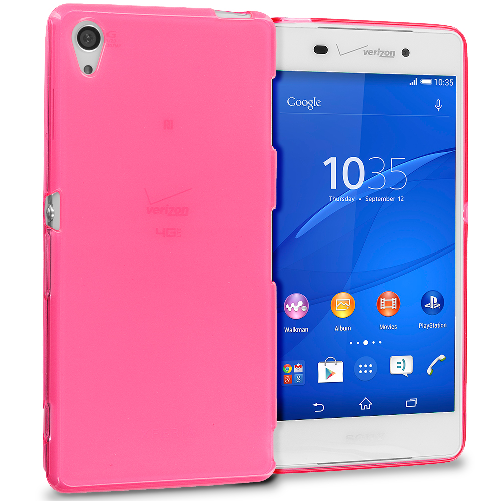 Sony Xperia Z3 Hot Pink TPU Rubber Skin Case Cover