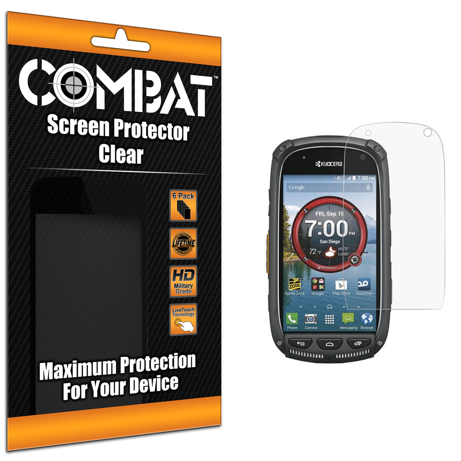 Kyocera Torque XT Clear Combat 6 Pack HD Clear Screen Protector