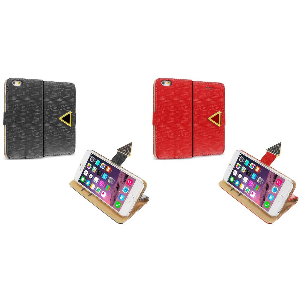 Apple iPhone 6 6S (4.7) 2 in 1 Combo Bundle Pack - Luxury Wallet Diamond Pixels Design Case Cover With Slots
