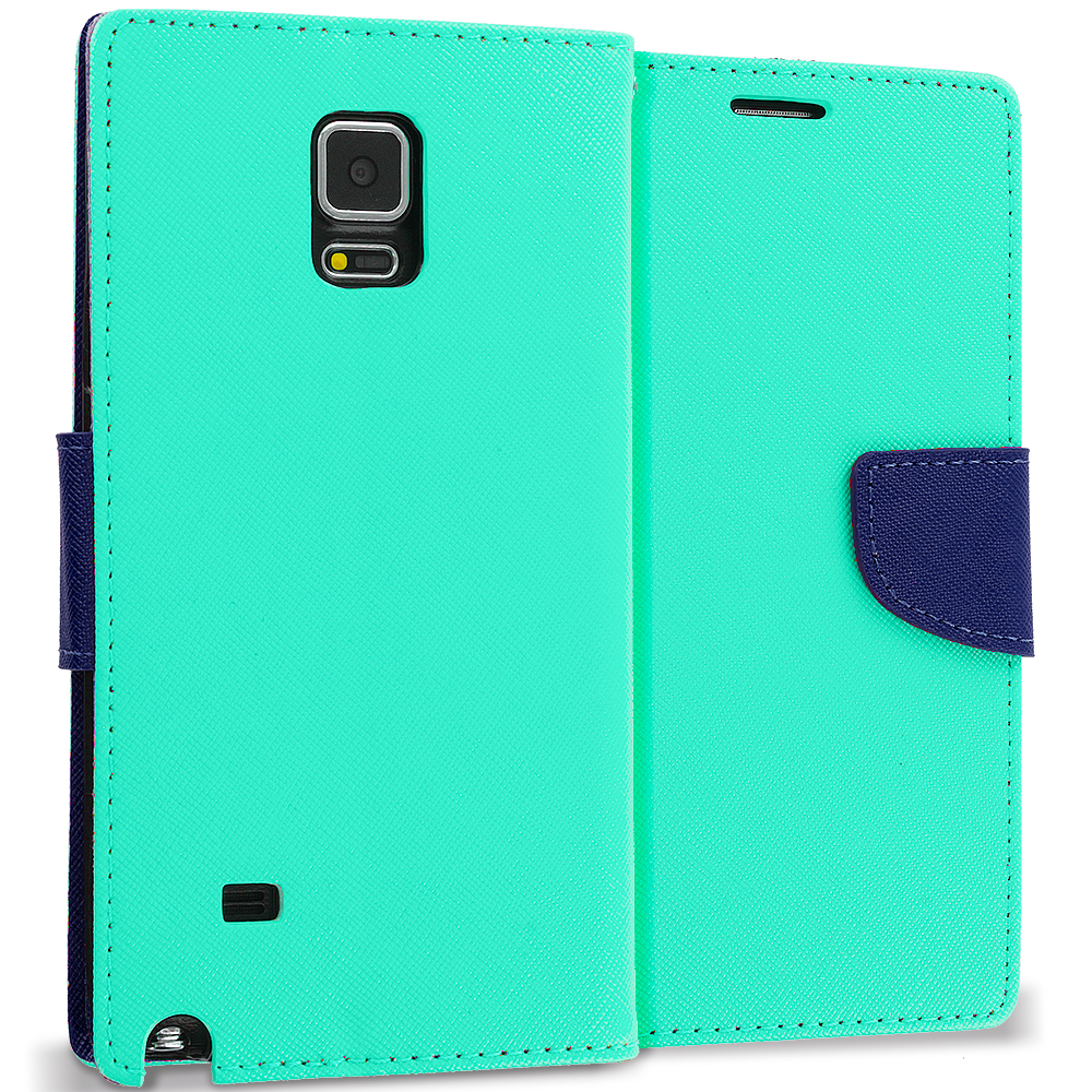 Samsung Galaxy Note 4 Mint Green / Navy Blue Leather Flip Wallet Pouch TPU Case Cover with ID Card Slots