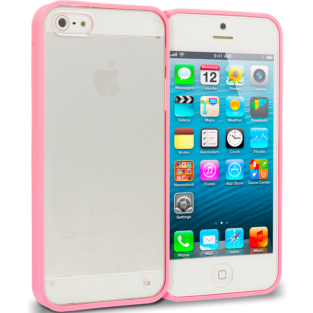 Apple iPhone 5/5S/SE Combo Pack : Green TPU Plastic Hybrid Case Cover : Color Pink
