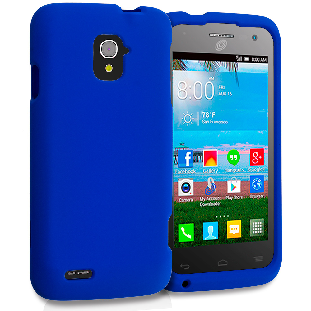 Alcatel One Touch Pop Star A845L Blue Hard Rubberized Case Cover