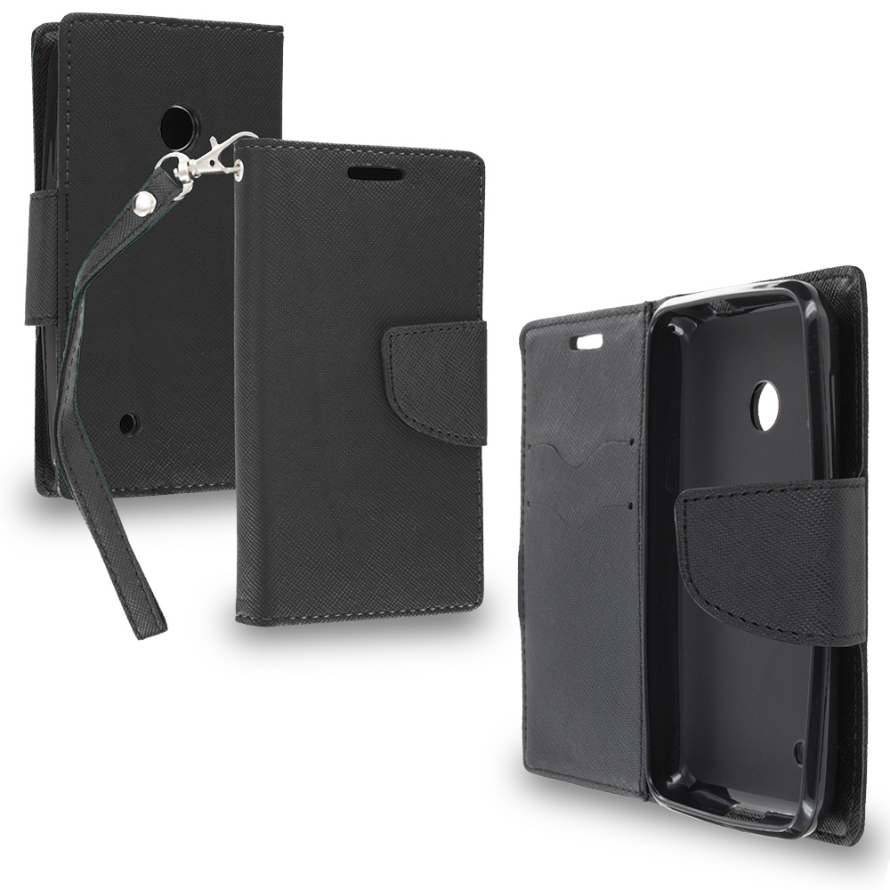 Nokia Lumia 530 Black / Black Leather Flip Wallet Pouch TPU Case Cover with ID Card Slots