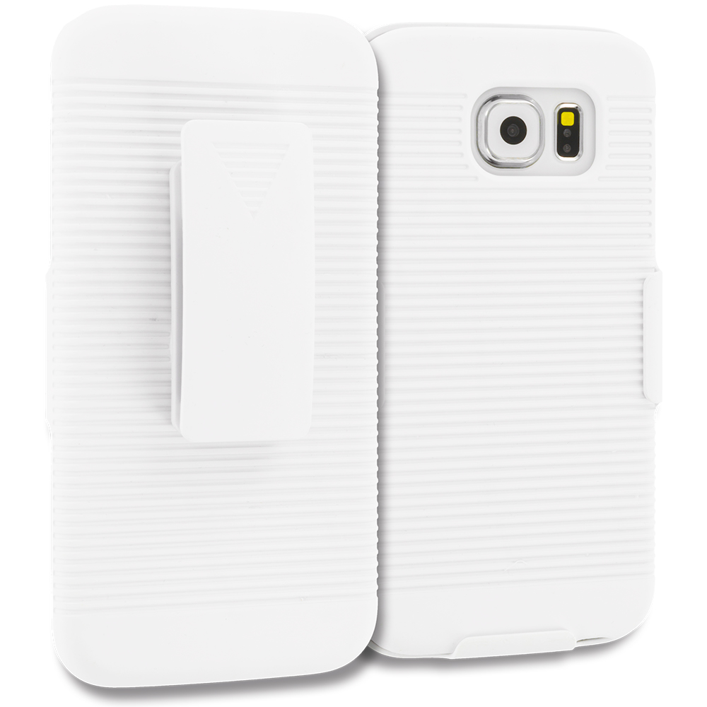 Samsung Galaxy S6 2 in 1 Combo Bundle Pack - Belt Clip Holster Hard Case Cover : Color White