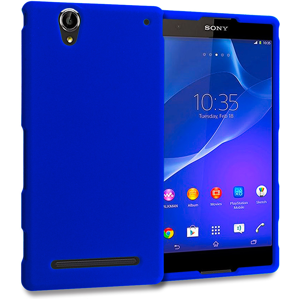 Sony Xperia T2 Ultra D5303 Blue Hard Rubberized Case Cover