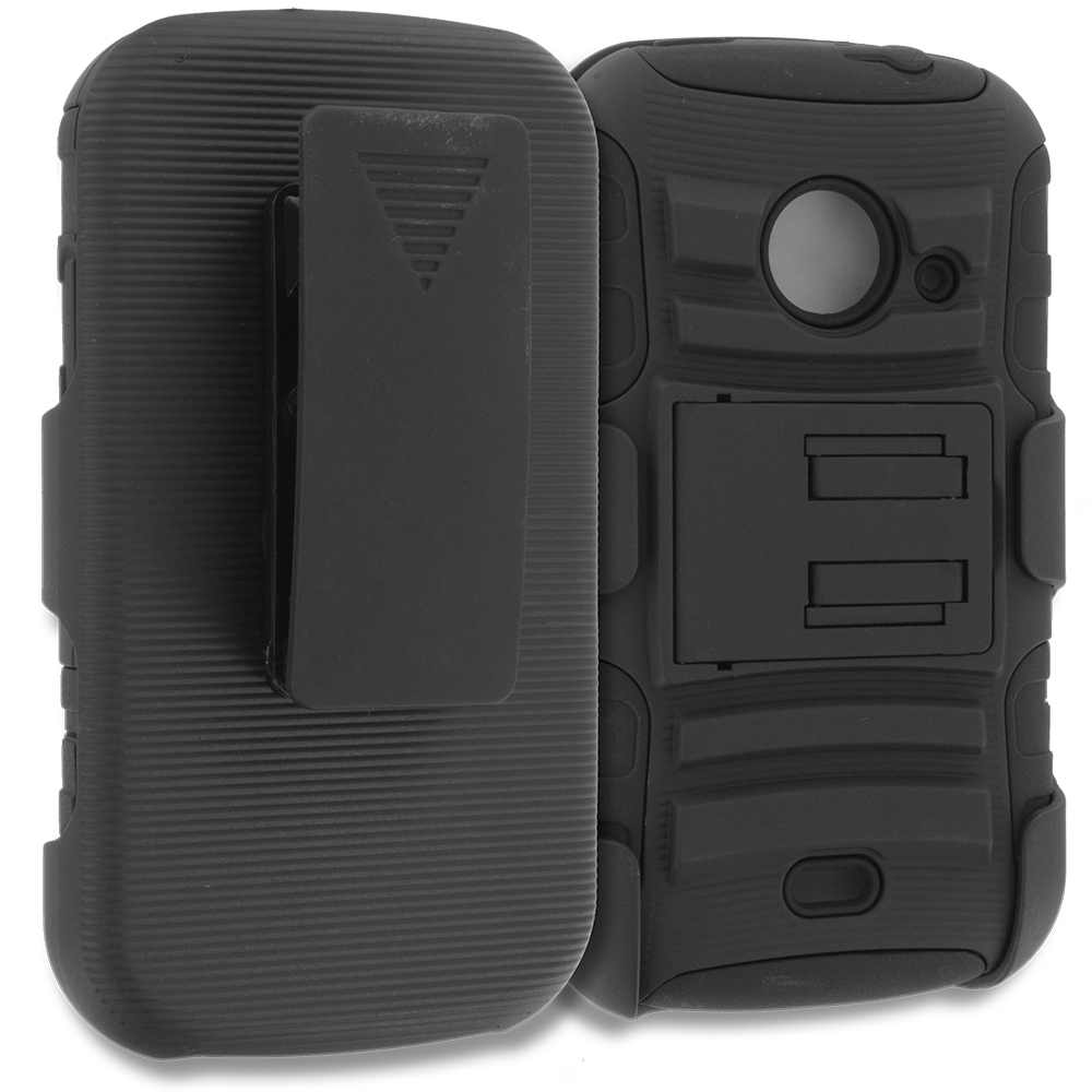 ZTE Zinger Prelude 2 Z667 Black Hybrid Heavy Duty Rugged Case Cover with Belt Clip Holster