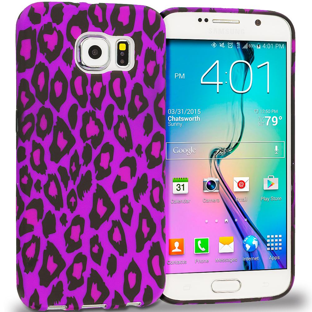 Samsung Galaxy S6 Purple Black Leopard TPU Design Soft Rubber Case Cover