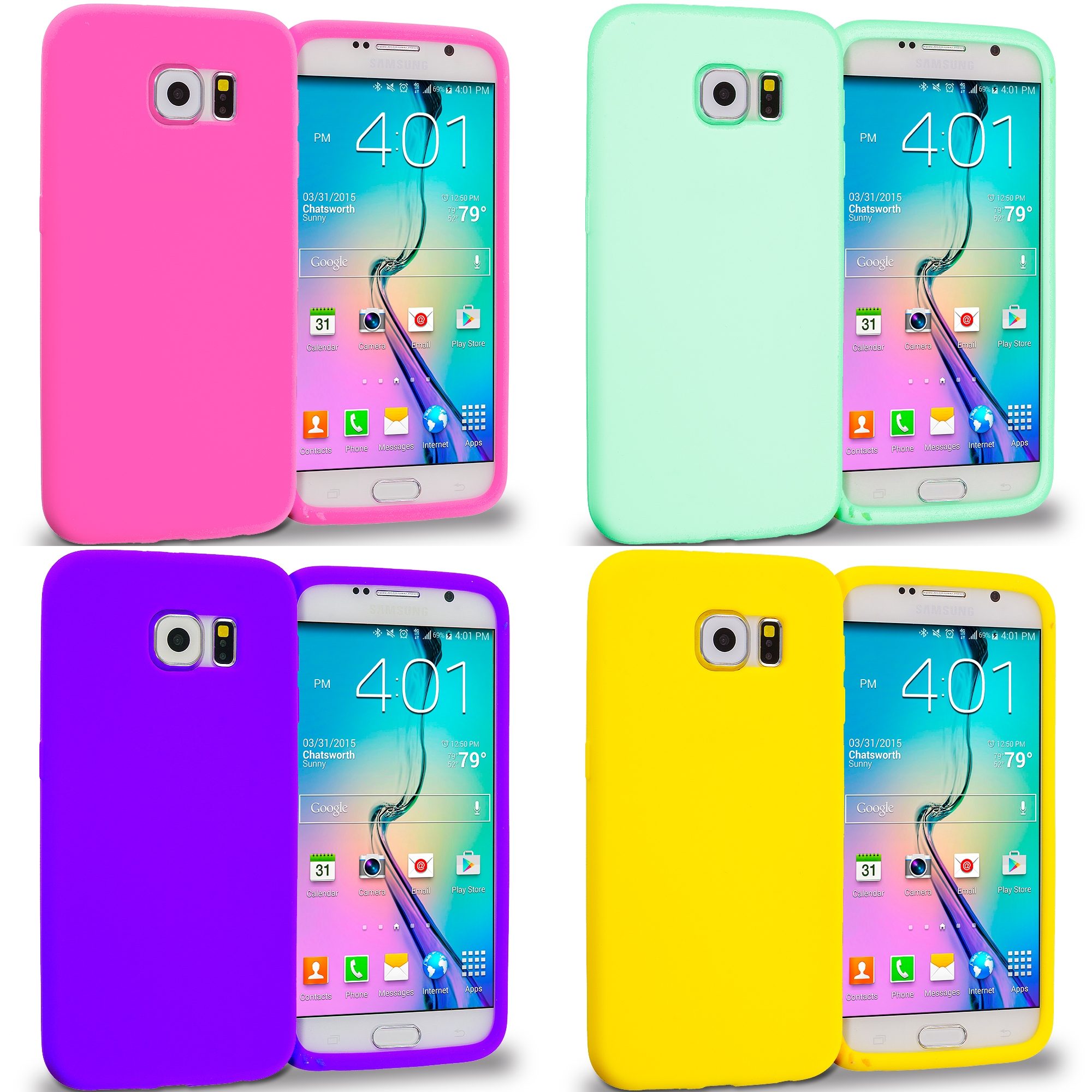 Samsung Galaxy S6 4 in 1 Combo Bundle Pack - Silicone Soft Skin Rubber Case Cover