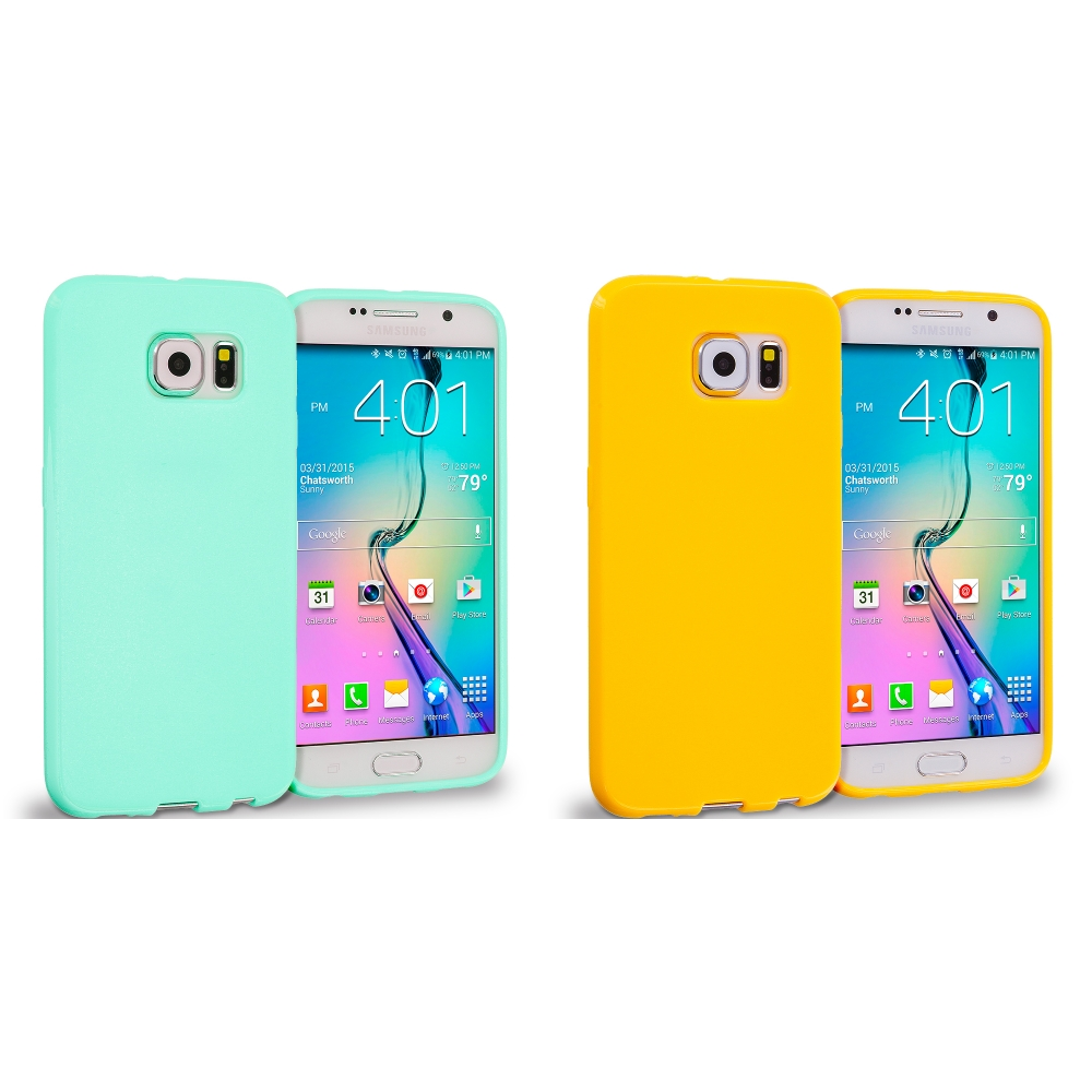 Samsung Galaxy S6 Combo Pack : Mint Green Solid TPU Rubber Skin Case Cover