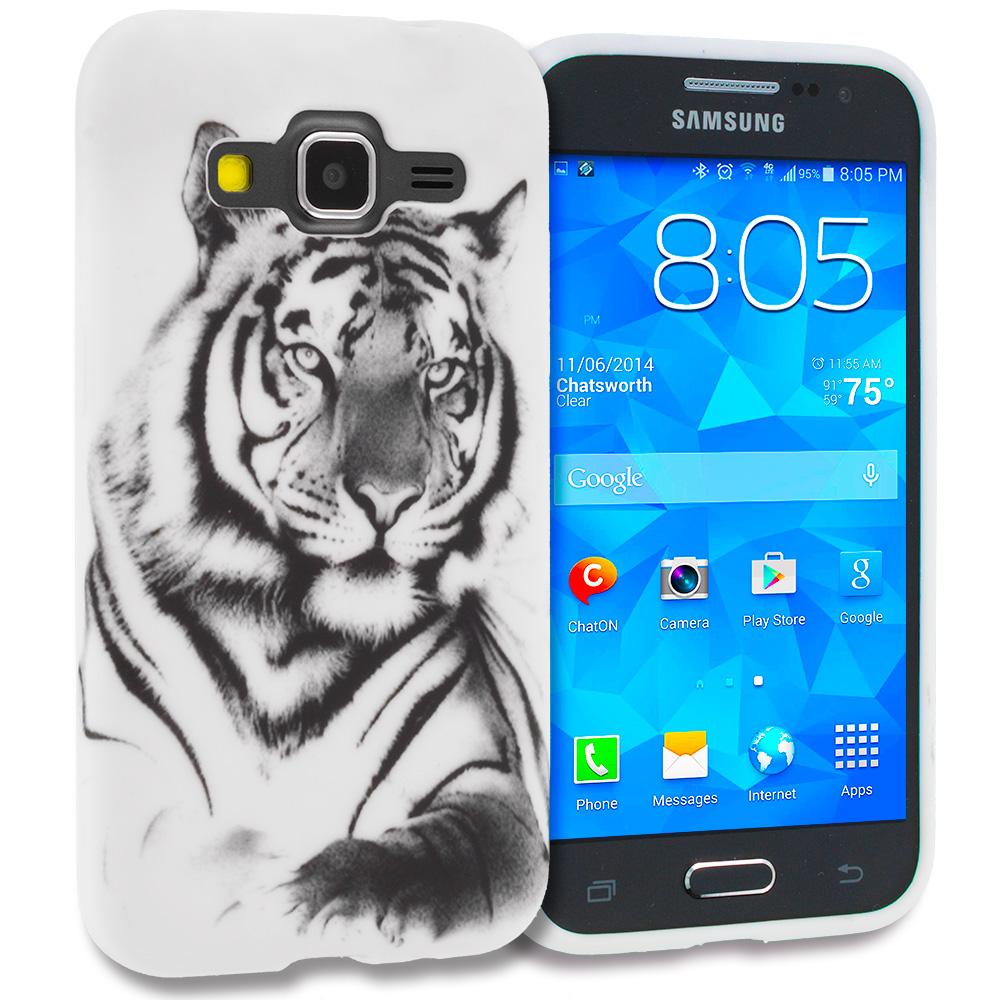 Samsung Galaxy Prevail LTE Core Prime G360P White Tiger TPU Design Soft Rubber Case Cover