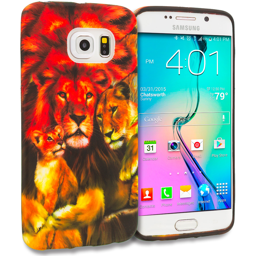 Samsung Galaxy S6 Edge Lion Family TPU Design Soft Rubber Case Cover