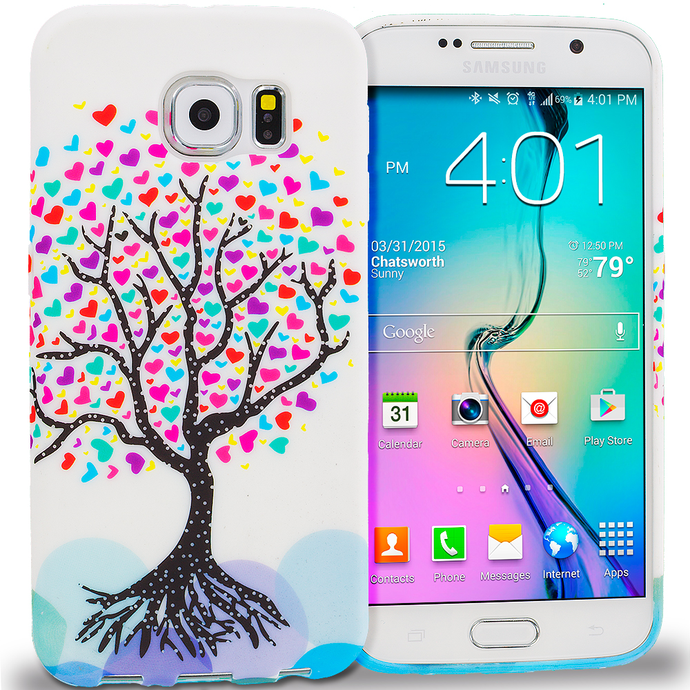 Samsung Galaxy S6 Edge Love Tree on White TPU Design Soft Rubber Case Cover