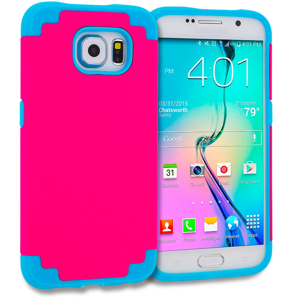 Samsung Galaxy S6 Edge Baby Blue / Hot Pink Hybrid Slim Hard Soft Rubber Impact Protector Case Cover