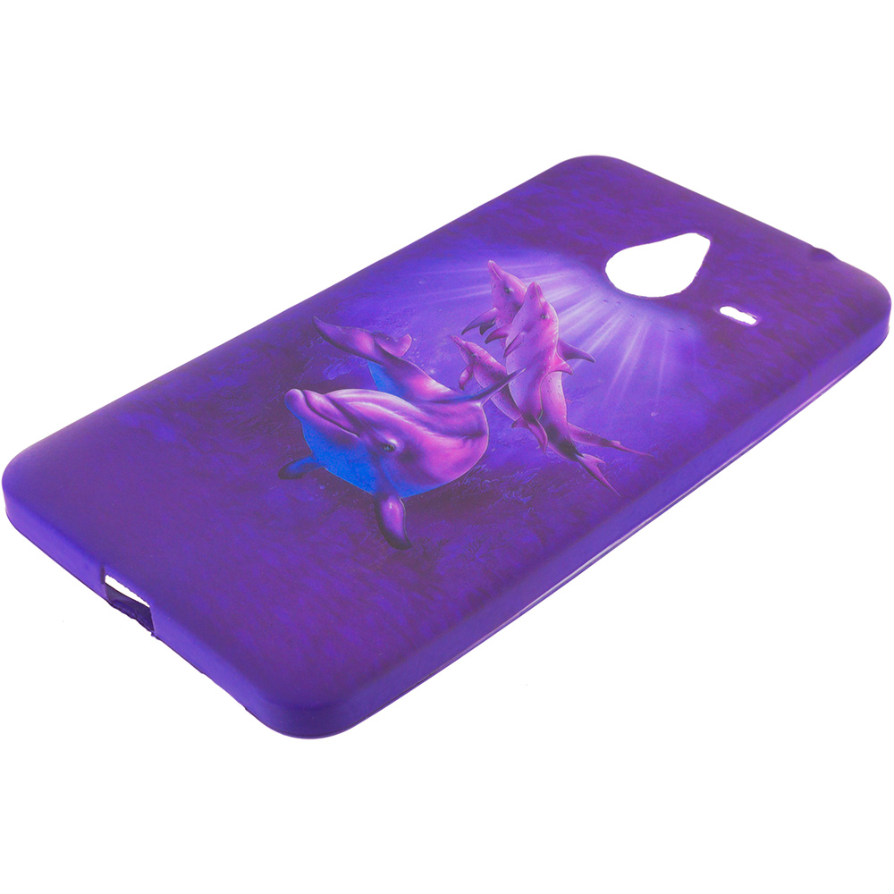 Microsoft Lumia 640 XL Purple Dolphin TPU Design Soft Rubber Case Cover
