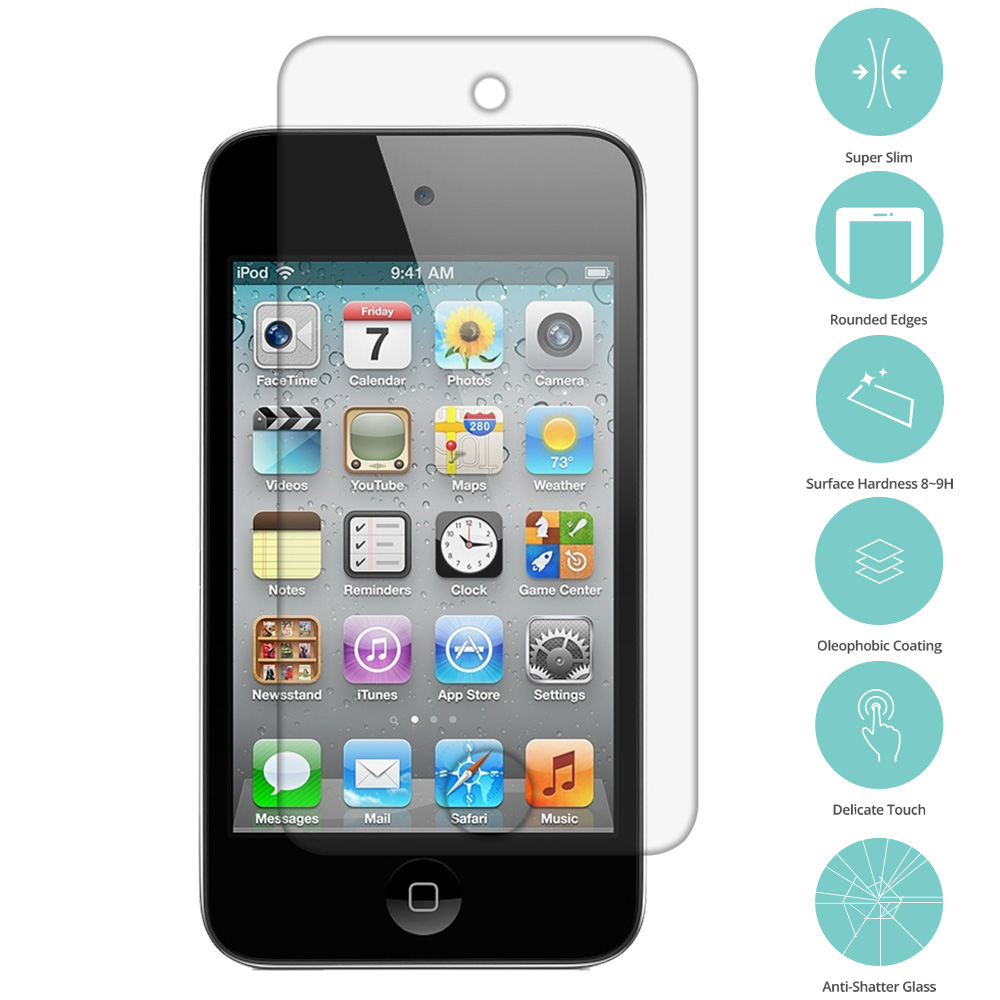Apple iPod Touch 4th Generation Clear Tempered Glass Film Screen Protector Clear