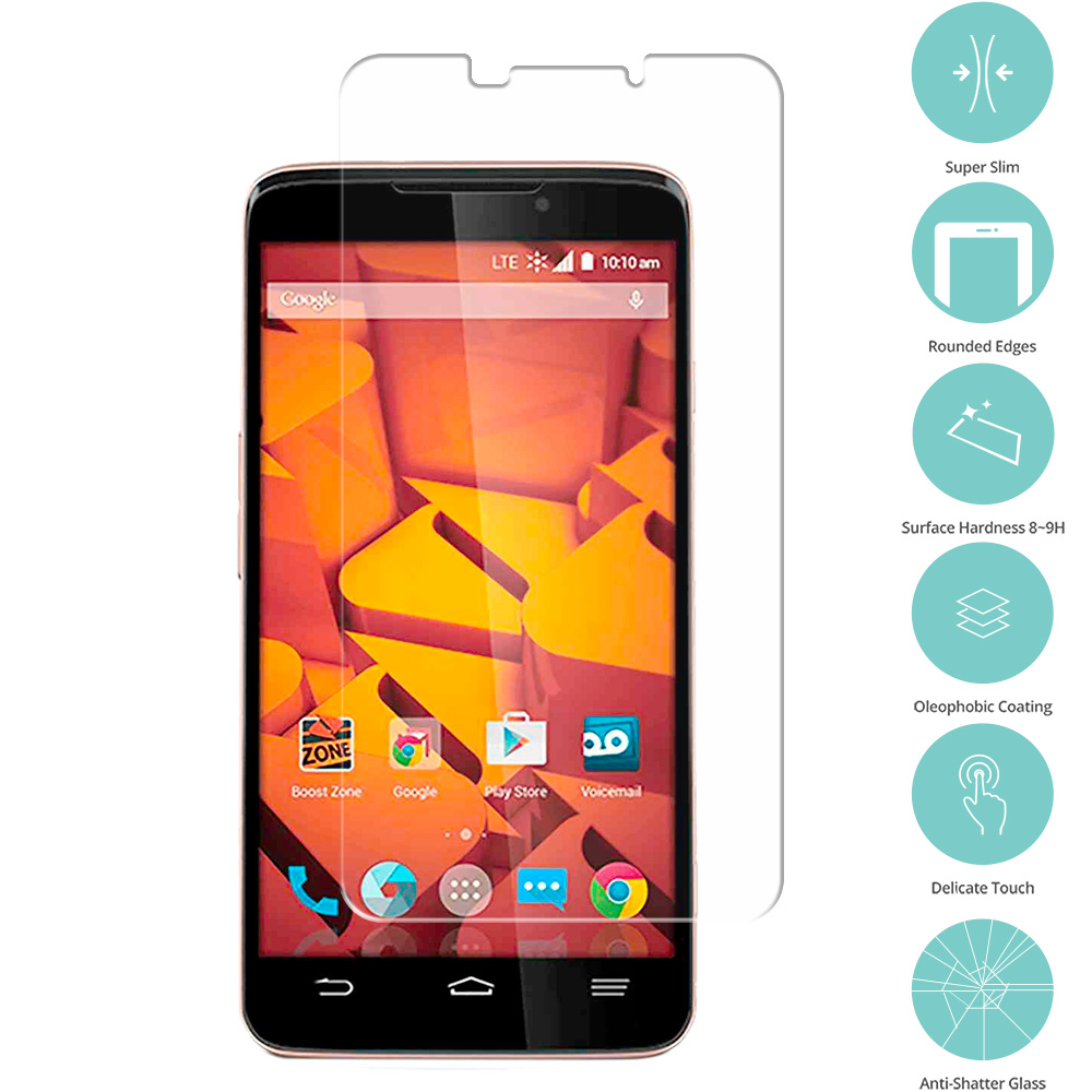 ZTE Boost Max Max Plus + N9521 Clear Tempered Glass Film Screen Protector Clear