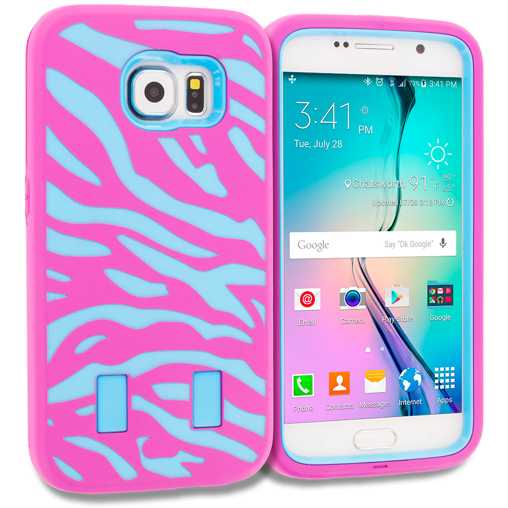 Samsung Galaxy S6 4 in 1 Combo Bundle Pack - Hybrid Zebra Hard/Soft Case Cover : Color Baby Blue Pink