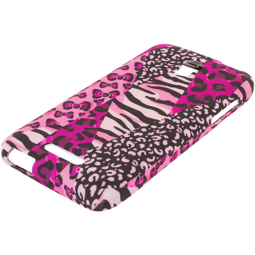 Alcatel One Touch Elevate Bowknot Zebra TPU Design Soft Rubber Case Cover