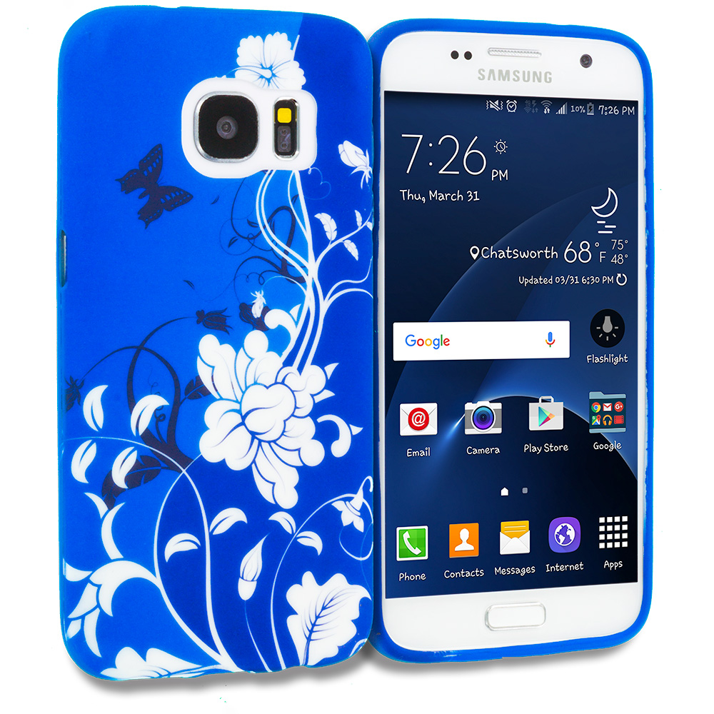 Samsung Galaxy S7 Combo Pack : Blue White Flower TPU Design Soft Rubber Case Cover : Color Blue White Flower Butterfly