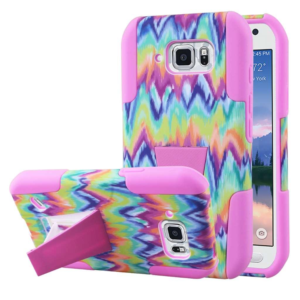 Samsung Galaxy S6 Active - Pink Tie Dye Chevron MPERO IMPACT X - Stand Case