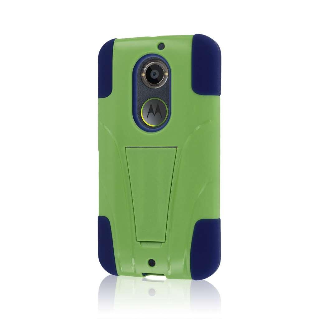 Motorola Moto X 2014 2nd Gen - Blue / Green MPERO IMPACT X - Kickstand Case