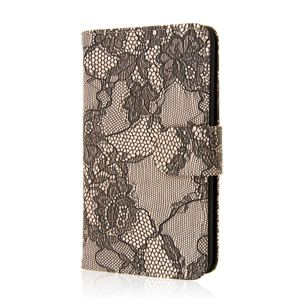 Samsung Galaxy Note Edge - Black Lace MPERO FLEX FLIP Wallet Case Cover