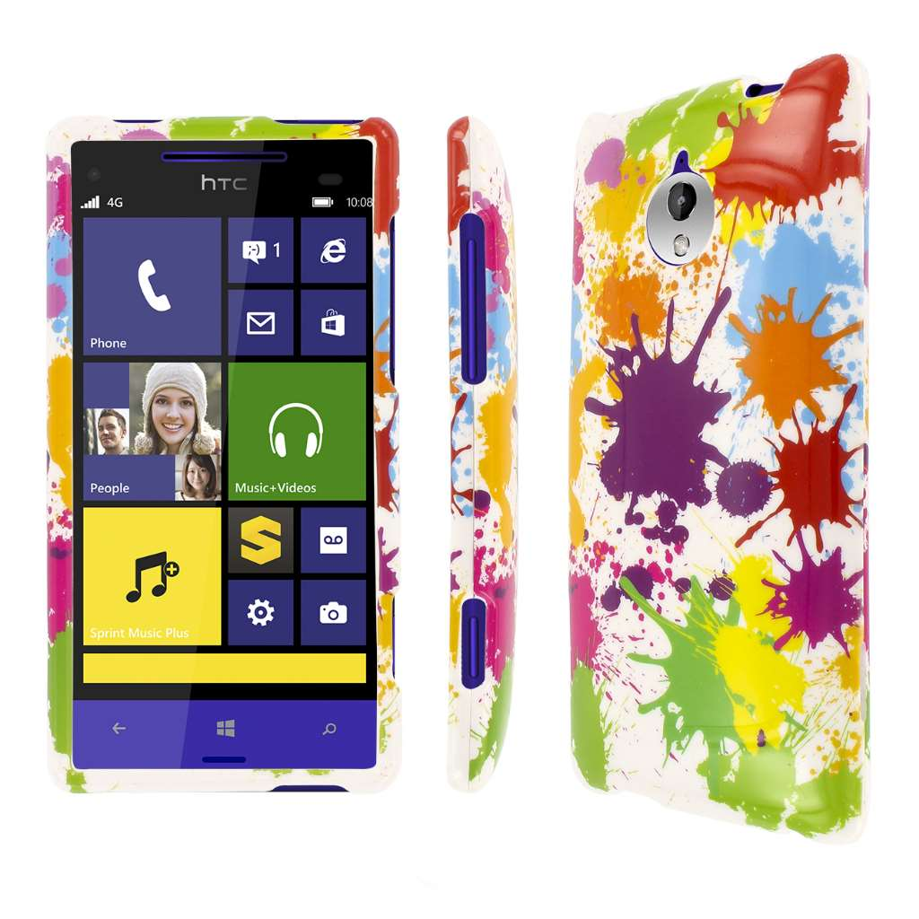 HTC 8XT - White Paint Splatter MPERO SNAPZ - Glossy Case Cover