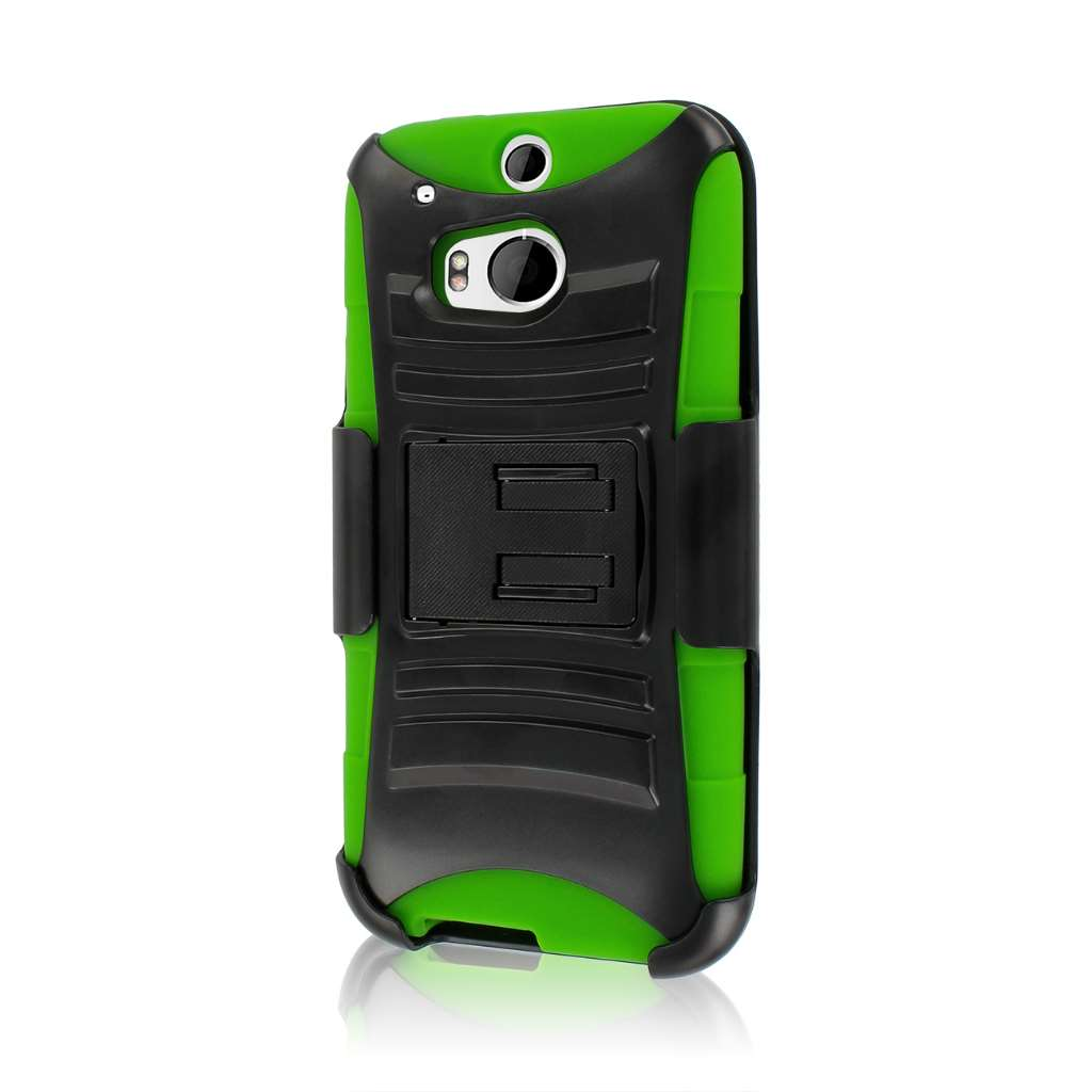 HTC One M8- NEON GREEN MPERO IMPACT XT - Kickstand Case and Belt Holster