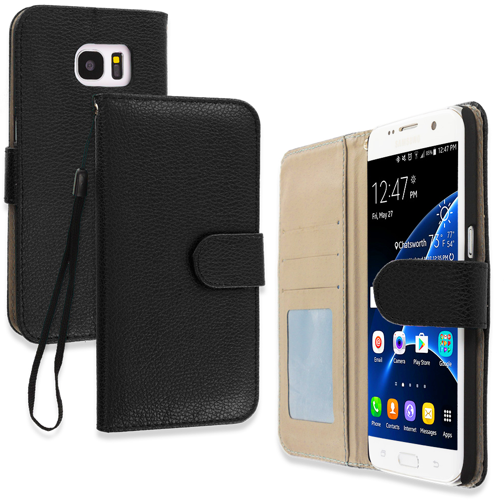 Samsung Galaxy S7 Edge Black Leather Wallet Pouch Case Cover with Slots