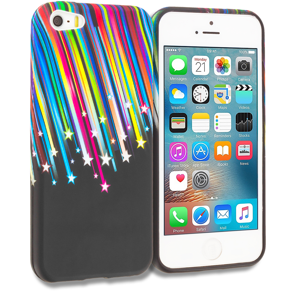 Apple iPhone 5/5S/SE Combo Pack : Colorful Love on Black TPU Design Soft Rubber Case Cover : Color Colorful Shooting Star