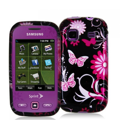 Samsung Trender M380 Pink Butterfly Flowers Design Crystal Hard Case Cover