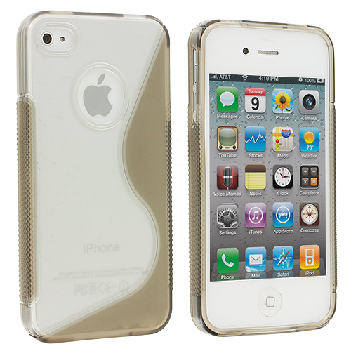 Apple iPhone 4 / 4S Clear / Smoke S-Line TPU Rubber Skin Case Cover