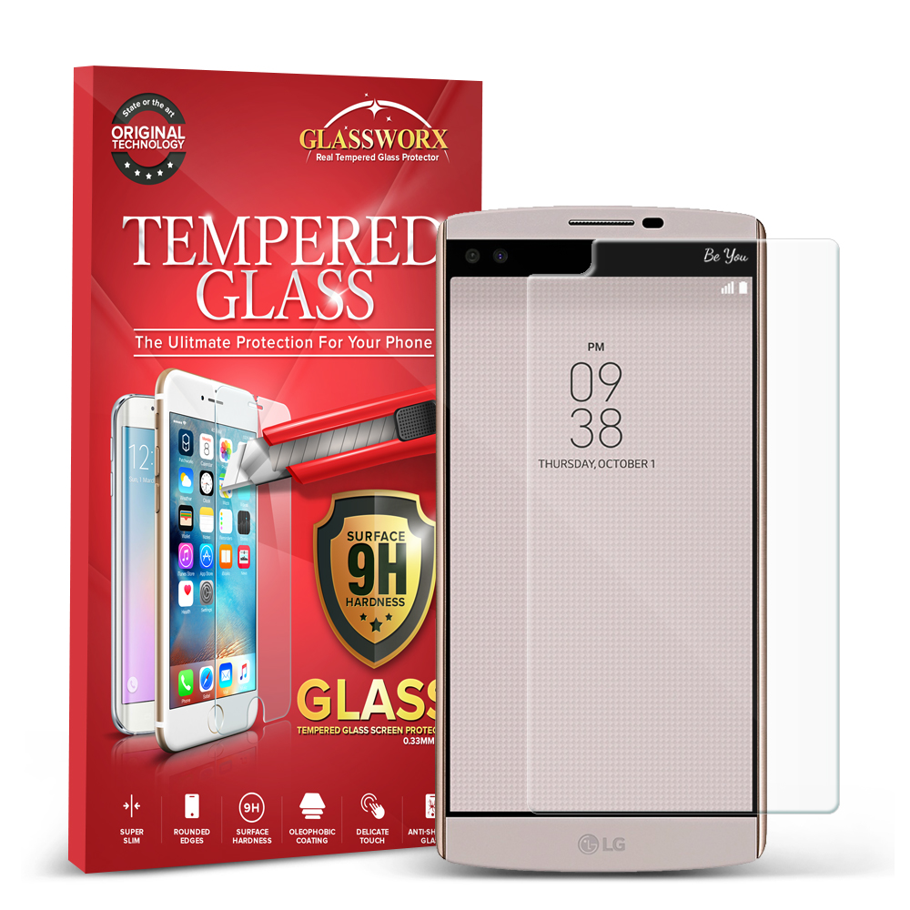 LG V10 GlassWorX HD Clear Tempered Glass Screen Protector